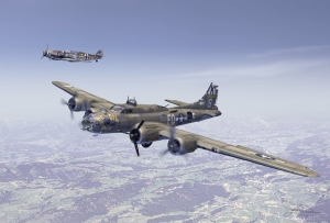 True Story: B-17 Bomber escorted by a German Messerschmitt More images: http://www.waltsrchanger.com/html/b-17_f__ye_olde_pub_.html