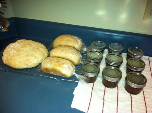 Yes, that's homemade sourdough bread and apple butter. I learned how to can!!!